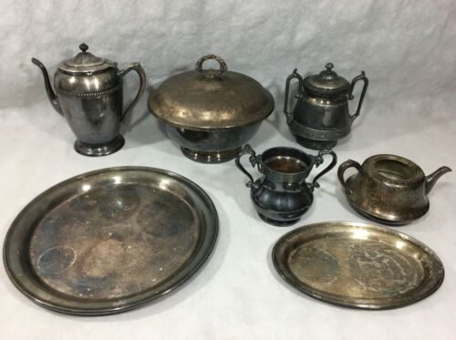Gorham Wilcox Reed & Barton FB Rogers Academy Lot Teapot Trays Serving Bowl