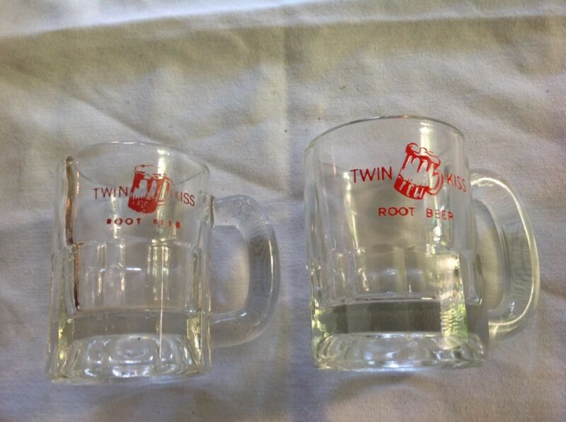 2 Twin Kiss Mini Root Beer Mugs, 1950