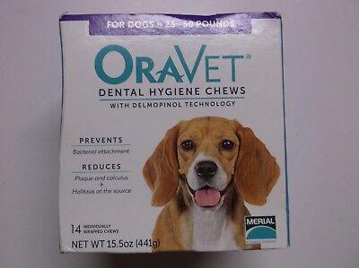 Oravet Dental Hygiene Chews Medium Dogs 25 to 50 lbs 14 Chews Best By