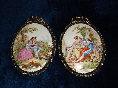 PAIR OF HAND PAINTED 18TH CENTURY STYLE FIGURAL WALL PLAQUES