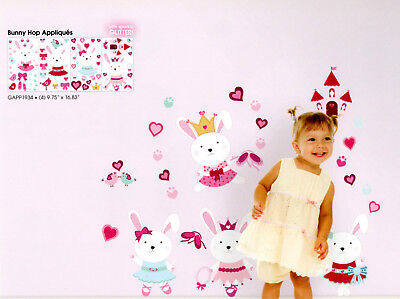 Easter Wall Decorations (Bunny Rabbit Easter Wall Decal Sticker Pink Princess Girl's Room Wall)