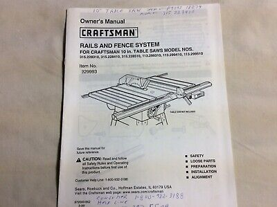 Craftsman  29993 Rails And Fence System Manual 10 Inch Table -