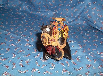 Fun Leather Covered Camel  Laying Down  Saddle  4 1/8 Inch High at Head