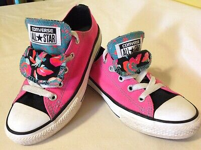 CONVERSE All Star Double Tongue Ox  Pink & Black  Youth Junior Size 13 ~ 654226F Double Tongue Ox Shoes
