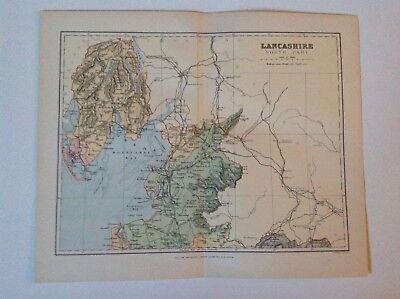 North Lancashire, Antique County Map c1897, Brabner, Atlas, Original, England