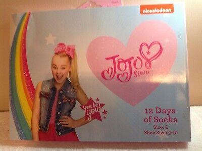 JoJo Siwa 12 Days Of Socks of CHRISTMAS Advent Box - L Girls NICKELODEON