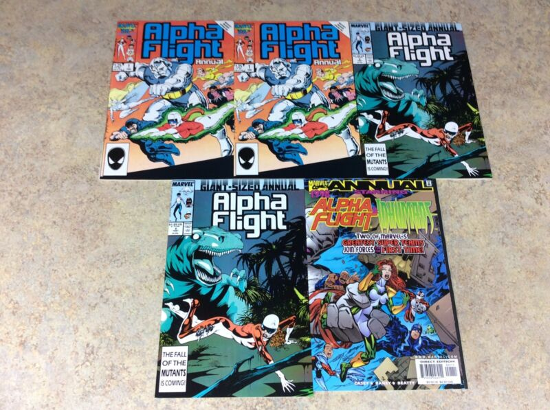 ALPHA FLIGHT ANNUAL#1,1,2,2,1998 LOT OF 5 VF COMIC 1986-1998 MARVEL