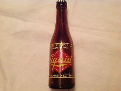 Red Diamond Extract Liquid Amber Glass Soda Bottle, 1948