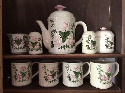 Pink Floral Tea Or Coffee Set Tea pot, 4 Cups, Sugar And Creamer Bowl.Salt&peppr