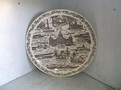 "Vernon Kilns Song of Iowa State Plate Brown 10 1/2"" U. S. A."