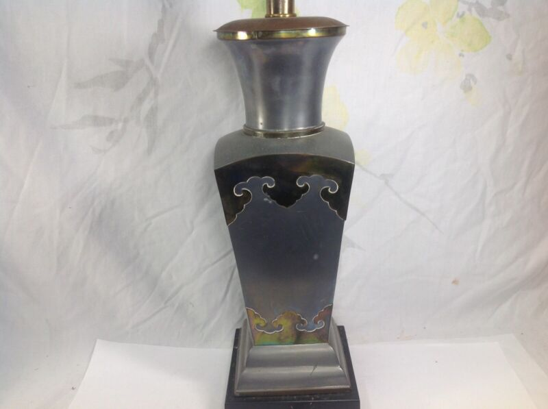 Chinese Pewter With Brass Decorate Square Vase