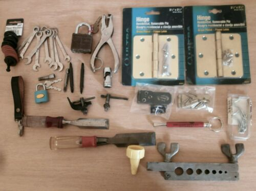 Lot of 30 Pieces of Garage Junk Draw tools hinges hardware miscellaneous items