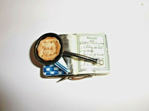 Peint Main Limoges Trinket-Crepe Recipe Book
