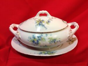 Vintage Schwarzburg China Gravy Boat w/ Attached Underplate