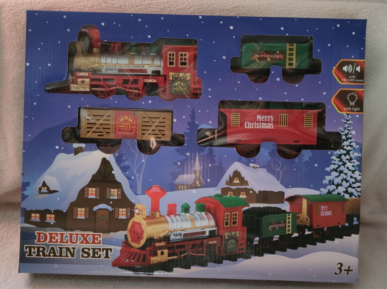 Weihnachtszug Eisenbahn Licht Sound Lok Weihnachten Elektrisch Nostalgie Waagen