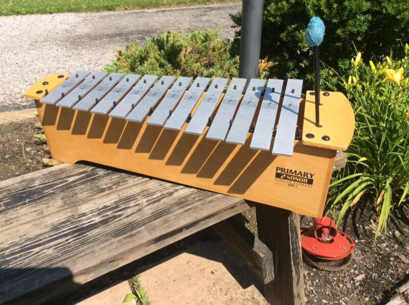 Primary Sonor AMP-1 Wood /Metal 13 Bar Xylophone 2 Mallets & 3 Extra Bars - Nice