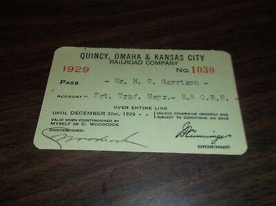 1929 QUINCY OMAHA & KANSAS CITY RAILROAD COMPANY EMPLOYEE PASS #1030](Party City Omaha)