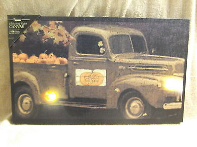 Pumpkin Pick Up Truck Autumn Fall For Sale Lighted Canvas Wall Decor Sign New