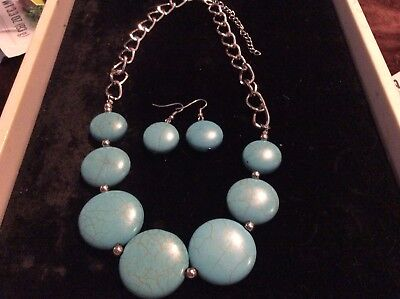 SILVER FIGIRO NATURAL TURQUOISE  GRADUATED CIRCLE NECKLACE/MATCHING EARRING ()