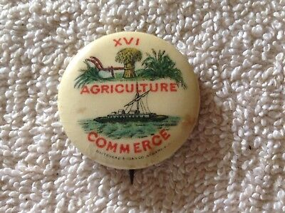 El Capitan Chewing Gum 1896, XVI Agriculture Commerce Pin Back Button