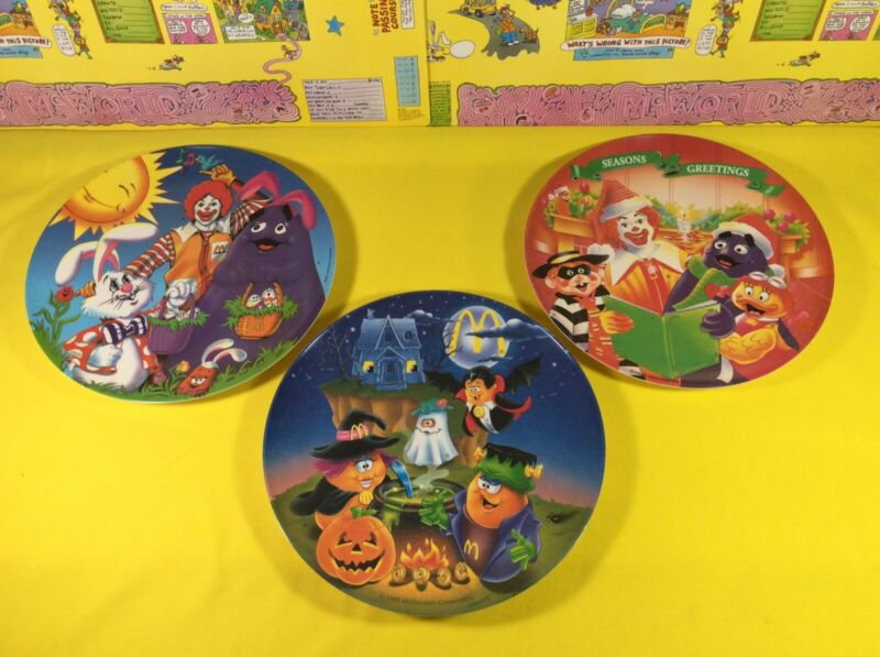 3 Vintage McDonalds Plates Easter Halloween Christmas Ronald Grimace Nuggets New