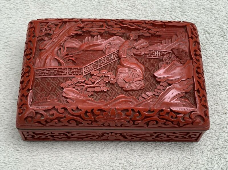 RARE ANTIQUE CHINESE CARVED CINNABAR LACQUER RED BOX 19th CENTURY ENAMEL