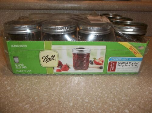 12 Pack 8 oz Ball Regular Mouth Quilted Crystal Canning Mason Jelly Jars - 9 New