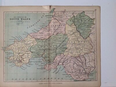 South Wales 1878 Antique County Map, Bartholomew England Atlas Railways, Canals