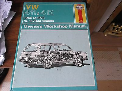 Rare Classic Volkswagen  68 to 74, 411/412LE/LS/914, Haynes  workshop manual VGC