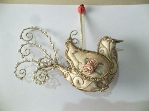 VICTORIAN BIRD PARTRIDGE CHRISTMAS ORNAMENT 6 INCHES LONG NEW METAL
