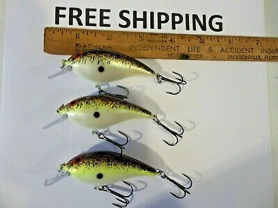 Lot of 3 Norman DD22 CRANKBAITS FISHING LURES 11-17 Ft HOLOGRAPHIC PEARL CLR