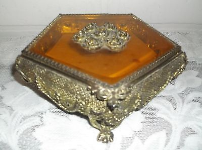 VINTAGE HEAVY GOLD TONE  FILIGREE CASKET JEWELRY BOX GLASS FOOTED ROSES