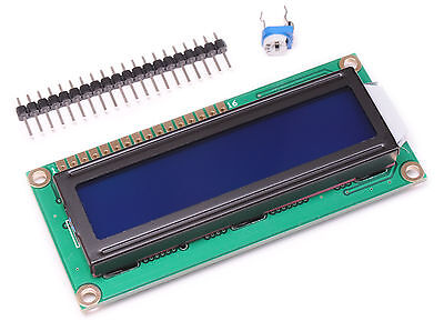 16x2 Character Blue Lcd Display 10k Trim Pot Header Pins Arduino 1602 Hd44780