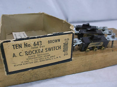 Vintage Slater Brown 3-way Light Switch 15a A.c. Rocker Toggle Bakelite