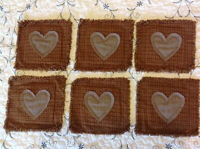 PriMiTivE HoMEsPuN Rag Quilt 6 Coasters set NEW! Valentine Hearts