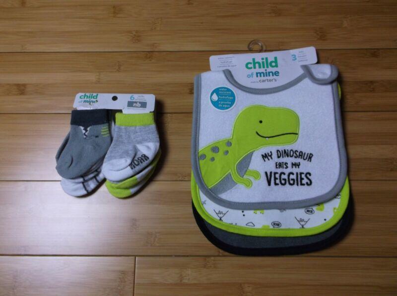 NEW NEWBORN baby boy 3x bibs and 6x socks Dinosaurs dinoBABY SHOWER GIFT idea