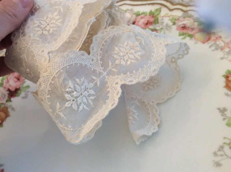 Vtg Antique Hand Embroidered Net Lace Ribbon Scalloped Victorian 85""