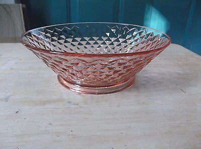 Imperial Glass - Ohio Pink Depression Round Bowl Diamond Quilted Pattern (Imperial Glass Ohio Diamond)