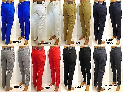 Men's ROYAL BLUE skinny twill pants blue grey white black red navy style (Royal Blue Pants)