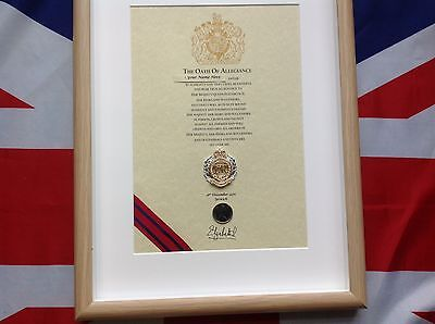 Royal Engineers Oath Of Allegiance With Cap Badge And Shilling