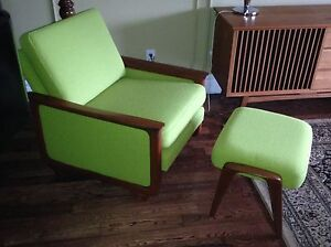 Mid Century R. Huber lounge arm upholstered chair & ottoman London Ontario image 1