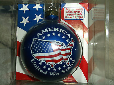 Christmas Patriotic Ornament America United We Stand Glass Collectors New