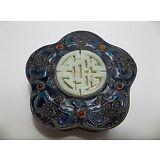 Antique Chinese SILVER Gilt ENAMEL Box JADE Medallion GEMSTONE Cabochons
