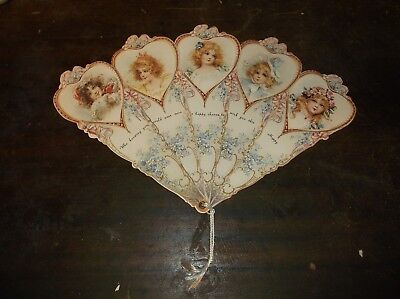 """VINTAGE VICTORIAN HAPPY BIRTHDAY DAY """"FAN"""" CARD """"WHO KNOWING YOU"""""""