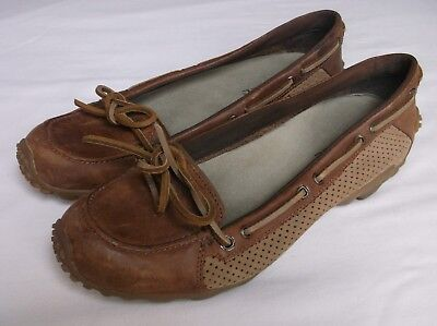 (Merrell Marina Brown Womens Leather Sport Boat Loafers Flats 6.5M)