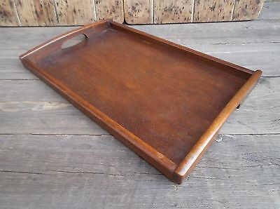 VINTAGE WOODEN RECTANGULAR SERVING TRAY WITH CUT OUT HANDLES .