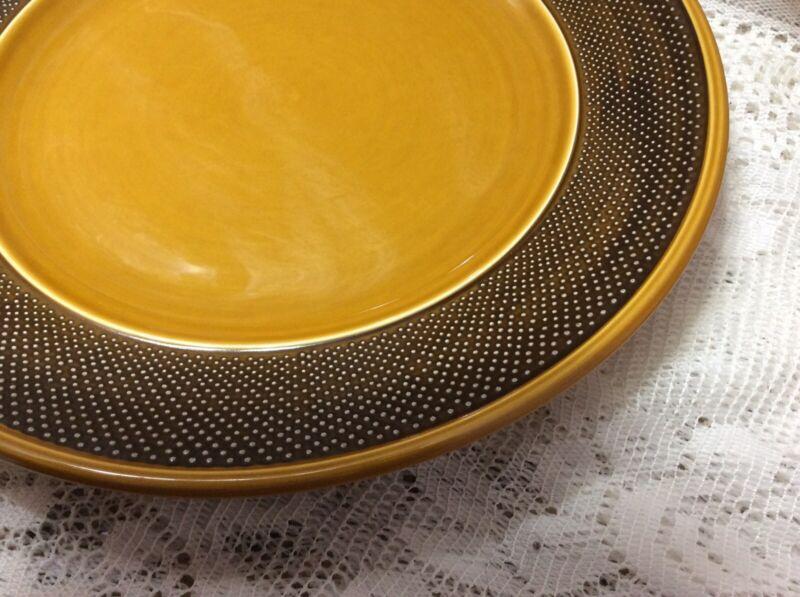 "Vintage HARMONY HOUSE AURORA Ironstone 12 1/4"" Plate/Platter #4267 Yellow Brown"