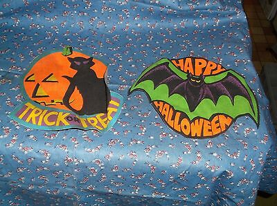 Two Older Cloth Halloween Cut-Outs Possibly Cloth Patches Bat 6