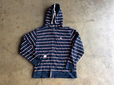 Huf Striped Zip Up Hoodie sz XL Blue White (Blue And White Striped Zip Up Hoodie)