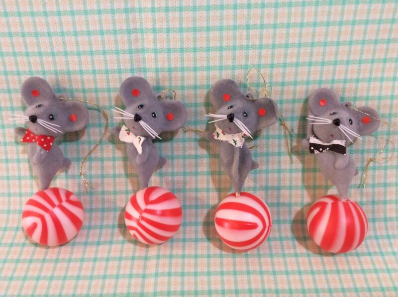 Vintage Flocked Christmas Mice Mouse Ornaments Gray Mouse on Peppermint Ball (4)